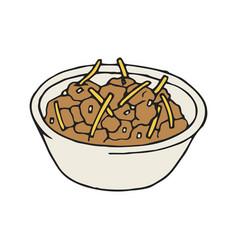 hand drawn chili bowl icon mexican vector image