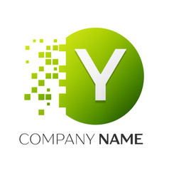 letter y logo symbol in the colorful circle vector image