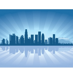 los angeles skyline with reflection in water vector image