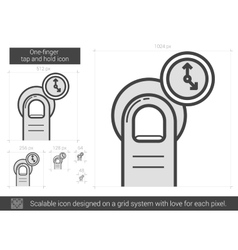 One-finger tap and hold line icon vector