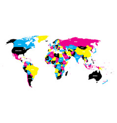 political map of world in cmyk colors with country vector image