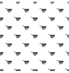 Shopping basket on wheels pattern vector
