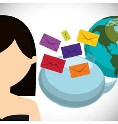 Woman world bubble speech sending email envelope vector