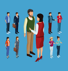 young people 3d vector image