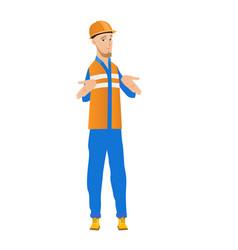 confused caucasian builder shrugging shoulders vector image