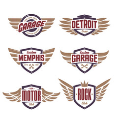 emblems with wings set vector image vector image