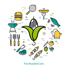 fire roasted corn - round concept vector image
