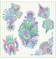 hand draw doodle flower element set vector image
