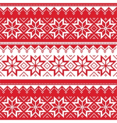 Nordic seamless christmas red pattern vector image vector image