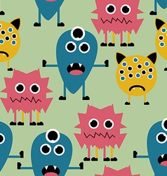 Seamless Pattern with Cute Funny Monsters vector image vector image