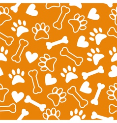 Seamless pattern with dog paw and print bone vector