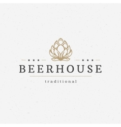 Beer hop logo or badge design element vector image vector image