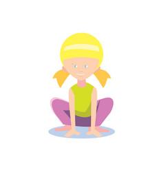 Little girl doing sport exercise vector