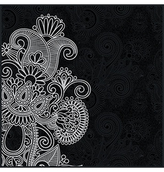 ornate black and white floral pattern vector image vector image