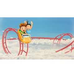 Roller coaster in the clouds background vector image