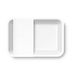 white empty styrofoam food tray with blank label vector image vector image