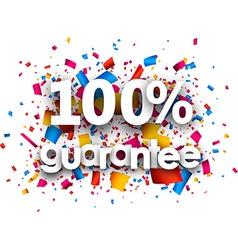 100 guarantee paper card vector