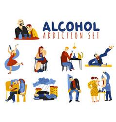 alcohol addiction icons set vector image