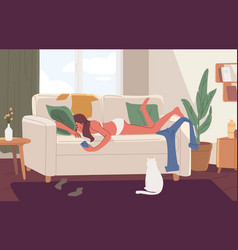 apathetic young woman lying on sofa in messy room vector image