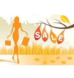 Autumn background with shopping woman vector