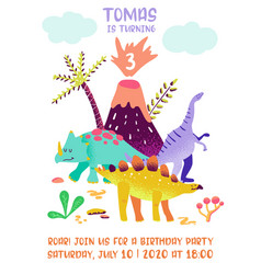 babirthday invitation card with funny dinosaur vector image