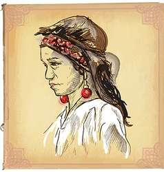 Beauty from Laos - An hand drawn sketch freehand vector