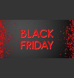 black friday sale promotion poster with red glossy vector image