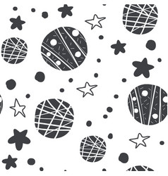 black seamless pattern with doodle planets stars vector image