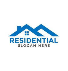 blue real estate residential logo icon design vector image