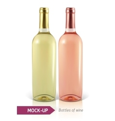 bottles of white and rose wine vector image