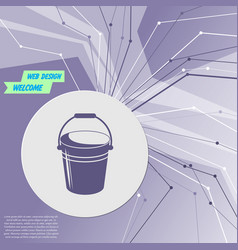 bucket icon on purple abstract modern background vector image