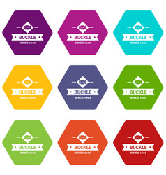 Buckle elegance icons set 9 vector