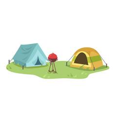 campsite semi flat vector image