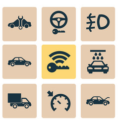 car icons set with foglight signal service and vector image
