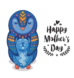 Card for Mothers Day with penguins vector