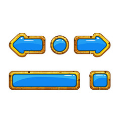 cartoon gold old blue buttons for game or web vector image
