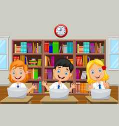 Cartoon kids study with computer in the class room vector