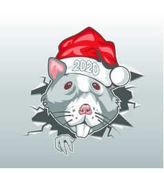 cartoon mouse with a hat and digits 2020 made a vector image