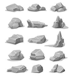 cartoon rock stones and boulders grey rubble set vector image