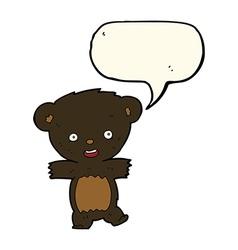 Cartoon teddy black bear cub with speech bubble vector