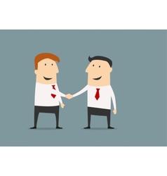 Cartooned businessmen shaking hands closing deal vector