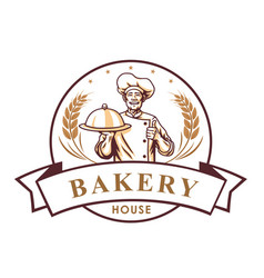 chef bakery shop logo sign template vector image