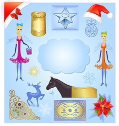 Christmas elements set isolated on light blue back vector image