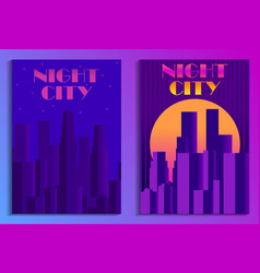 Cityscape poster in futurism style night city of vector