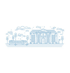 Classical school building with columns and bus vector