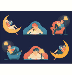 collection people reading books in dark vector image