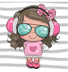 Cool cartoon cute girl with sun glasses vector