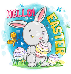 Cute bunny with easter egg on colorful isolate vector