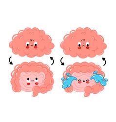 Cute funny happysad human intestine brain vector