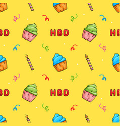 cute hand drawn happy birthday cup cake with vector image